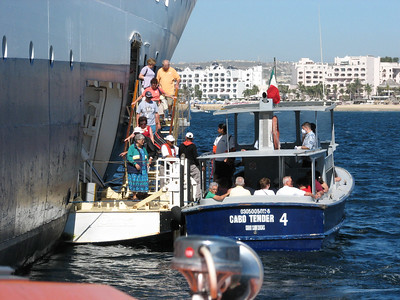 Passengers boarding the Cabo Tender from the ship Mercury